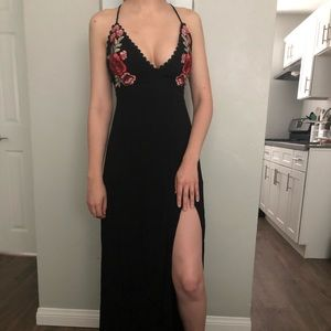 Lulu's black floral embroidered maxi dress